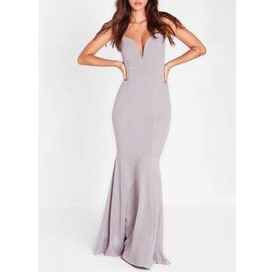 Missguided Scuba Bandeau Fishtail Maxi Dress